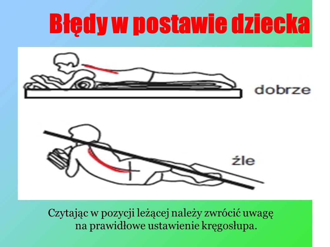 Błędy w postawie dziecka Czytając w pozycji leżącej należy zwrócić uwagę na prawidłowe ustawienie kręgosłupa.