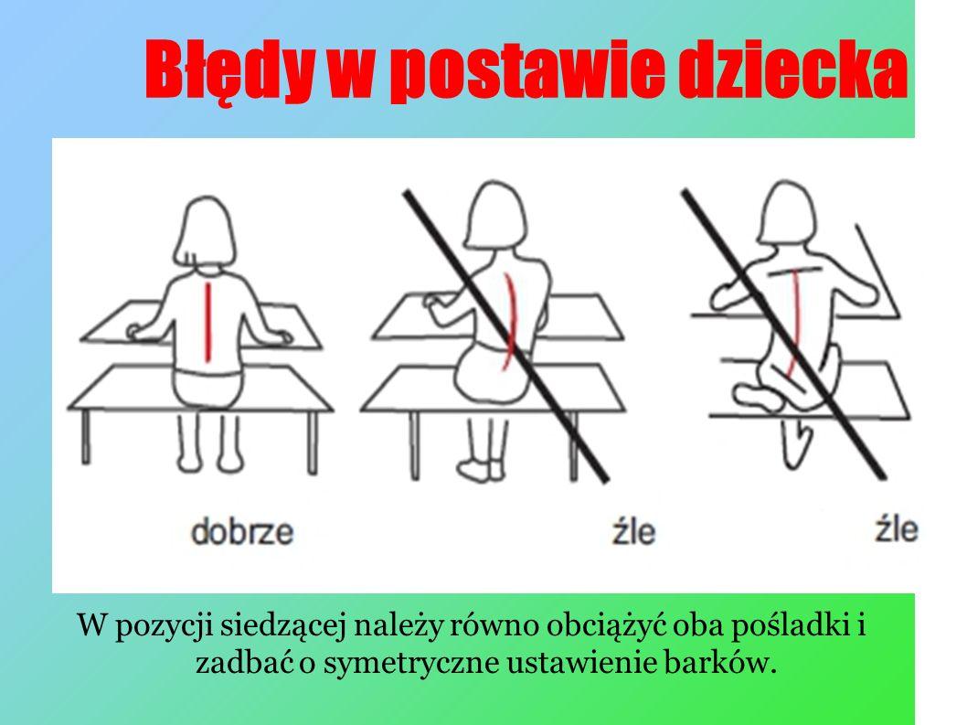 Błędy w postawie dziecka W pozycji siedzącej należy równo obciążyć oba pośladki i zadbać o symetryczne ustawienie barków.