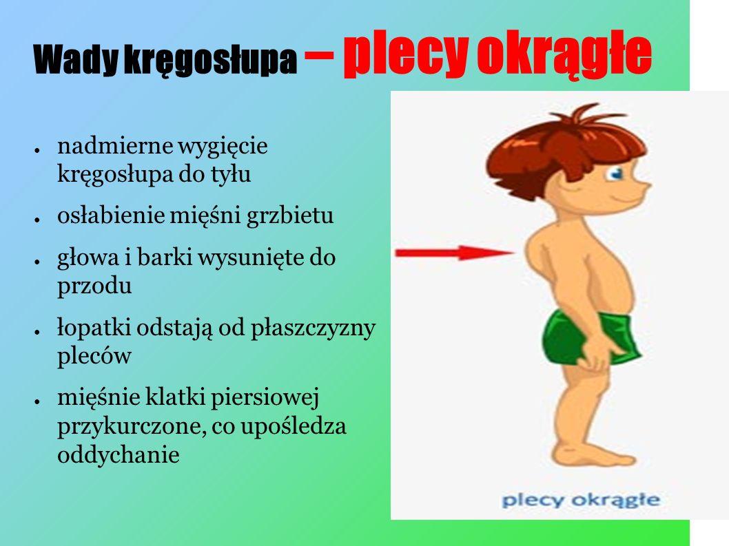 Wady kręgosłupa – plecy wklęsłe ● nadmierne wygięcie kręgosłupa w odcinku lędźwiowym ● zwiększone przodopochylenie miednicy ● wypięty brzuch ● uwypuklenie pośladków