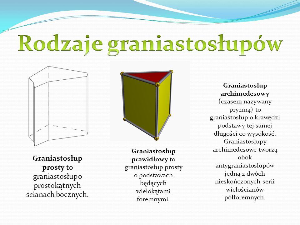 Graniastosłup prosty to graniastosłup o prostokątnych ścianach bocznych. Graniastosłup prawidłowy to graniastosłup prosty o podstawach będących wielok