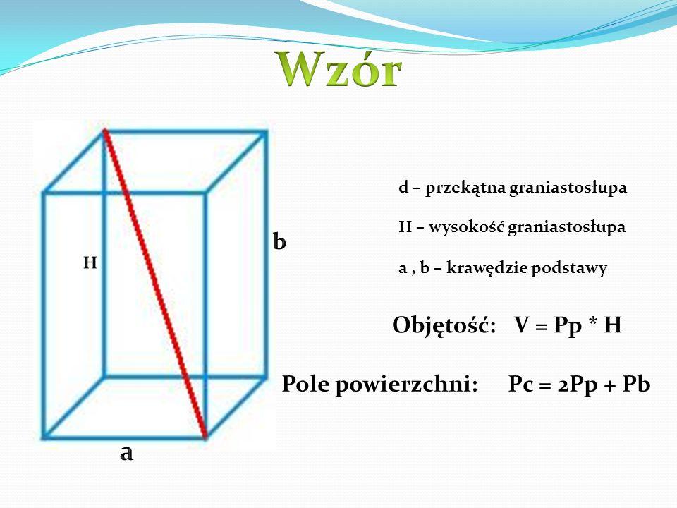 d – przekątna graniastosłupa H – wysokość graniastosłupa a, b – krawędzie podstawy Objętość: V = Pp * H Pole powierzchni: Pc = 2Pp + Pb