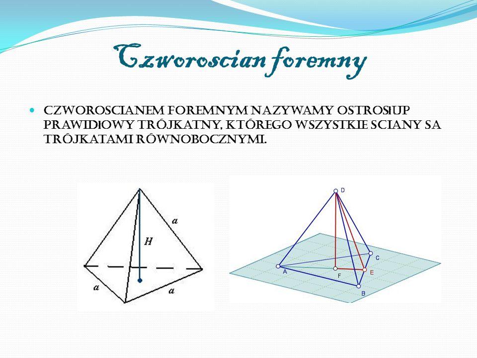 Czworoscian foremny Czworoscianem foremnym nazywamy ostros ł up prawid ł owy trójkatny, którego wszystkie sciany sa trójkatami równobocznymi.