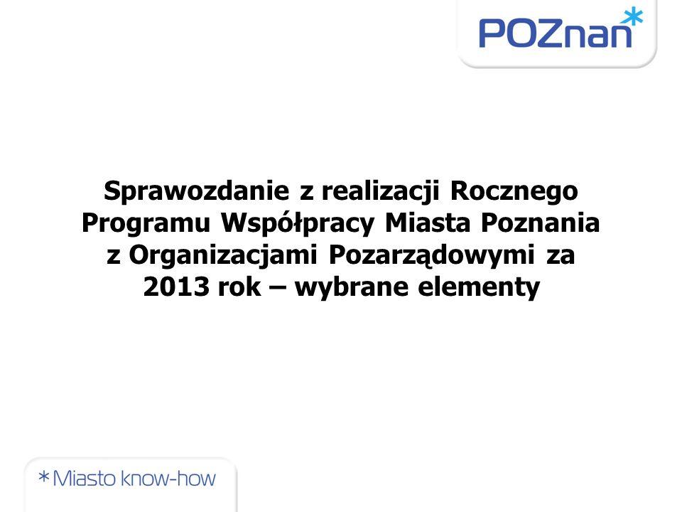 Sprawozdanie z realizacji Rocznego Programu Współpracy Miasta Poznania z Organizacjami Pozarządowymi za 2013 rok – wybrane elementy