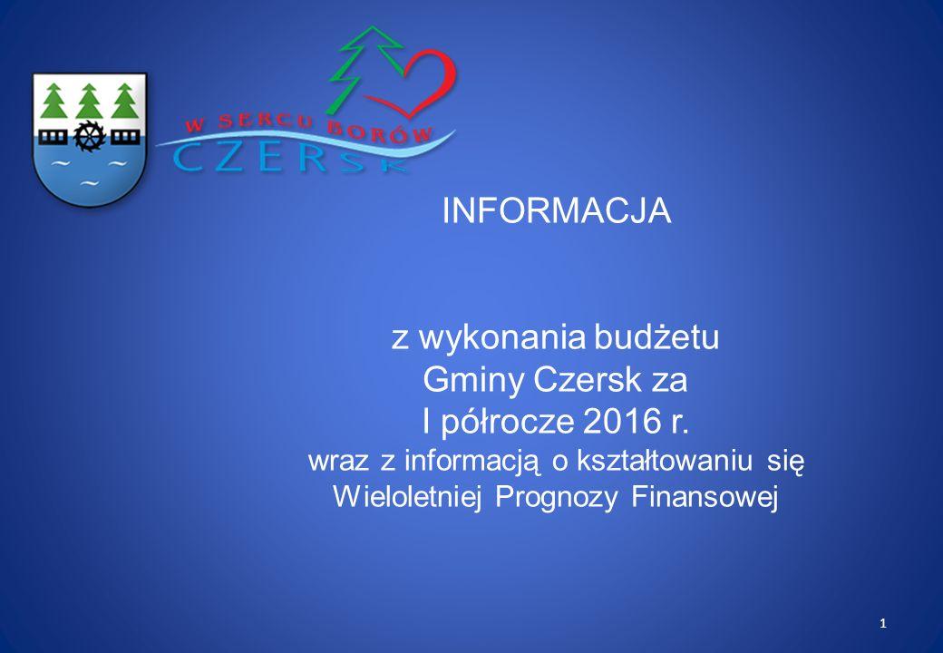 INFORMACJA z wykonania budżetu Gminy Czersk za I półrocze 2016 r.