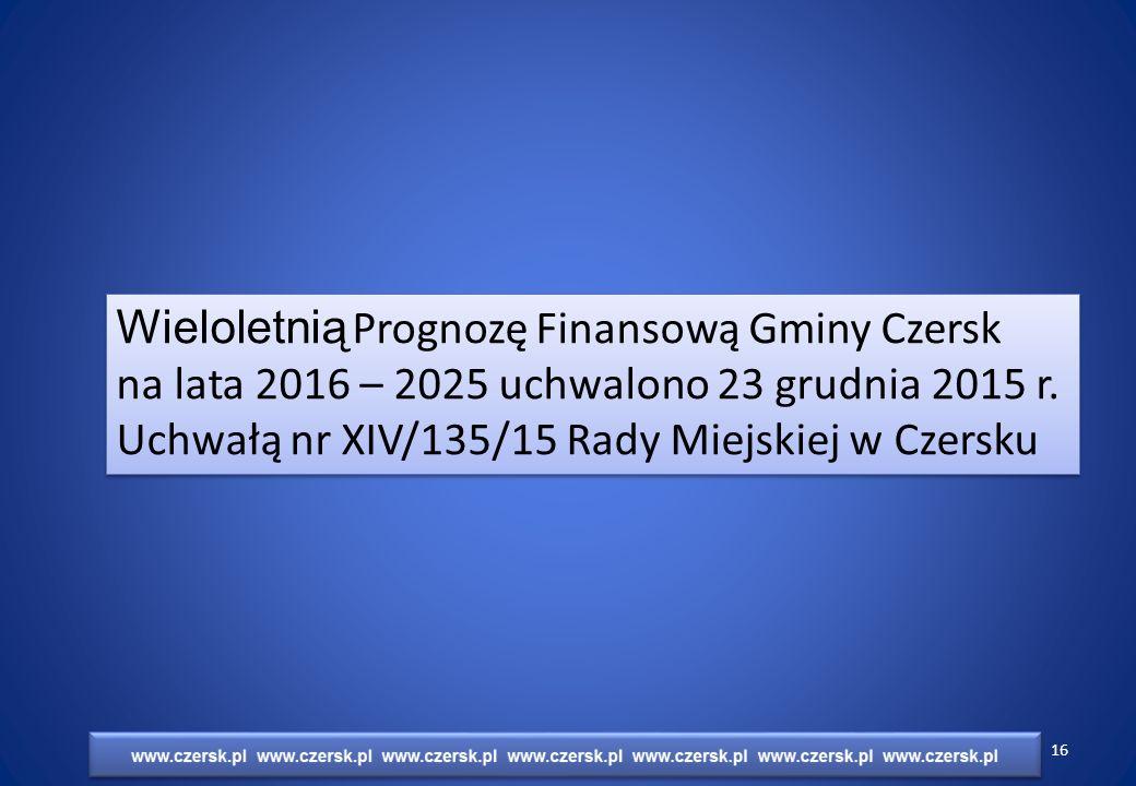 Wieloletnią Prognozę Finansową Gminy Czersk na lata 2016 – 2025 uchwalono 23 grudnia 2015 r.