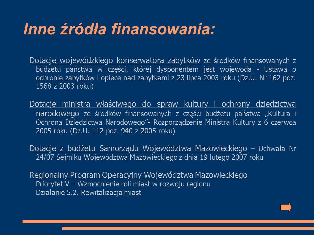 Inne źródła finansowania: Dotacje wojewódzkiego konserwatora zabytków ze środków finansowanych z budżetu państwa w części, której dysponentem jest woj
