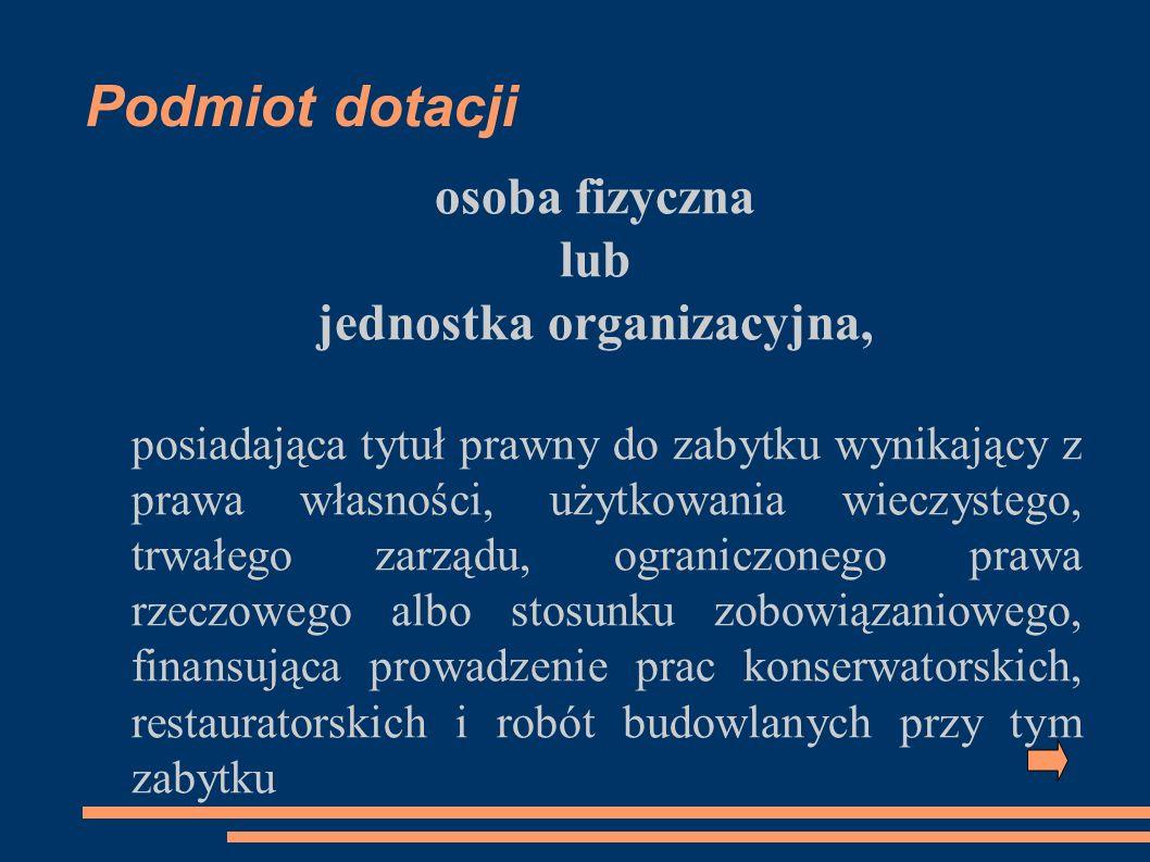 Podmiot dotacji osoba fizyczna lub jednostka organizacyjna, posiadająca tytuł prawny do zabytku wynikający z prawa własności, użytkowania wieczystego,