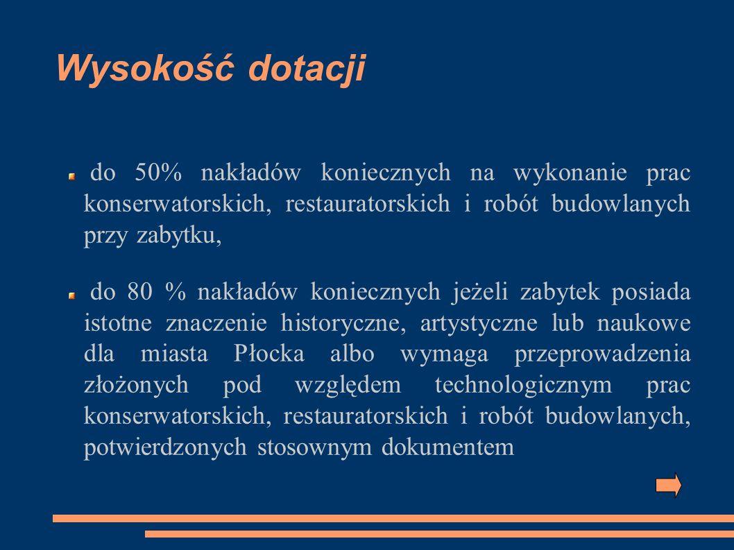 Plan działania Dokumentacj a techniczna, pozwolenia Wniosek z załącznikami 31 stycznia 2009 Umowa o dotację Wniosek o wypłatę dotacji Realizacja zadania Sprawozdanie 31 grudnia 2009 Umowa z wykonawcą Uchwała Rady Miasta