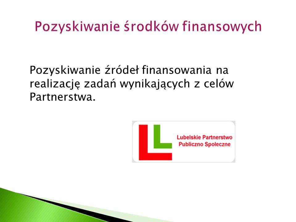 Pozyskiwanie źródeł finansowania na realizację zadań wynikających z celów Partnerstwa.