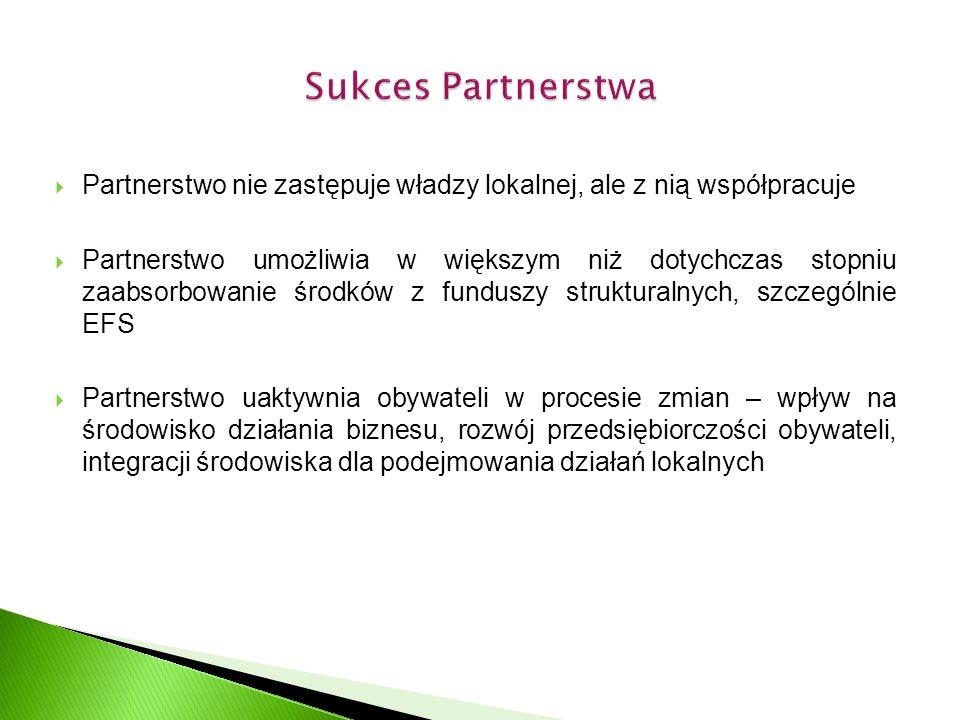  Partnerstwo nie zastępuje władzy lokalnej, ale z nią współpracuje  Partnerstwo umożliwia w większym niż dotychczas stopniu zaabsorbowanie środków z