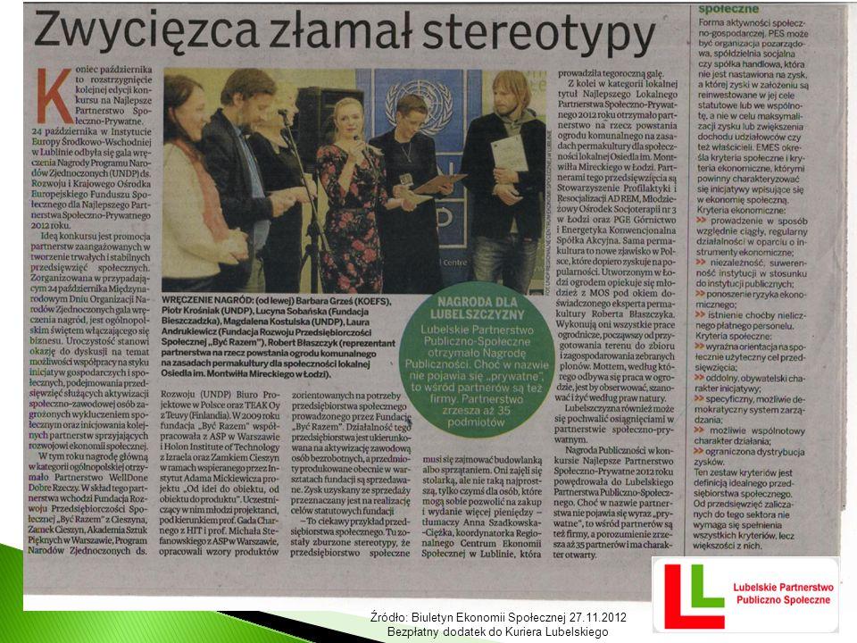 Źródło: Biuletyn Ekonomii Społecznej 27.11.2012 Bezpłatny dodatek do Kuriera Lubelskiego