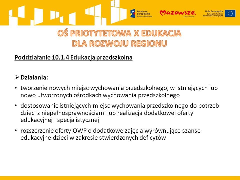 Poddziałanie 10.1.4 Edukacja przedszkolna  Działania: tworzenie nowych miejsc wychowania przedszkolnego, w istniejących lub nowo utworzonych ośrodkach wychowania przedszkolnego dostosowanie istniejących miejsc wychowania przedszkolnego do potrzeb dzieci z niepełnosprawnościami lub realizacja dodatkowej oferty edukacyjnej i specjalistycznej rozszerzenie oferty OWP o dodatkowe zajęcia wyrównujące szanse edukacyjne dzieci w zakresie stwierdzonych deficytów