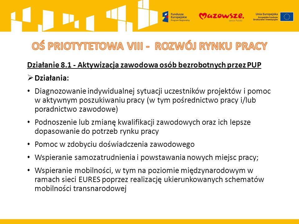 Działanie 8.1 - Aktywizacja zawodowa osób bezrobotnych przez PUP  Działania: Diagnozowanie indywidualnej sytuacji uczestników projektów i pomoc w akt