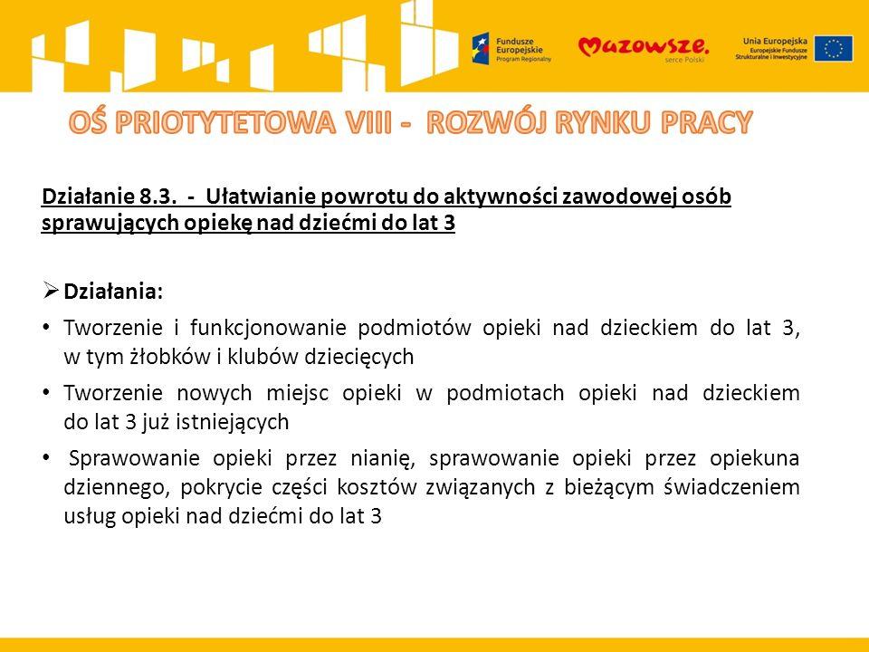 Działanie 8.3. - Ułatwianie powrotu do aktywności zawodowej osób sprawujących opiekę nad dziećmi do lat 3  Działania: Tworzenie i funkcjonowanie podm