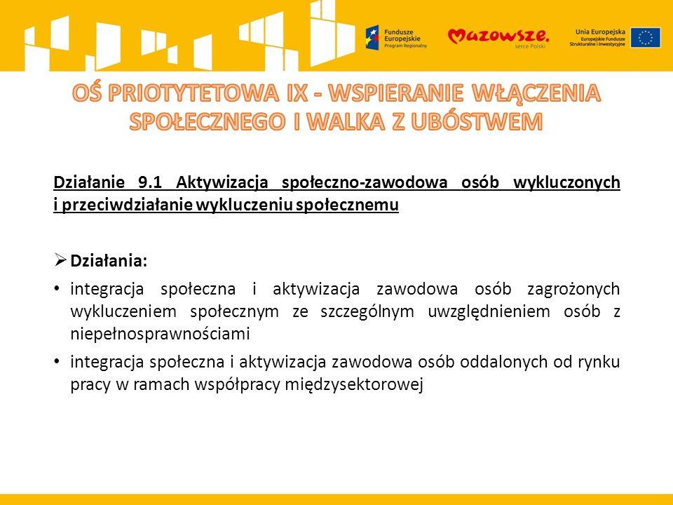 Działanie 9.1 Aktywizacja społeczno-zawodowa osób wykluczonych i przeciwdziałanie wykluczeniu społecznemu  Działania: integracja społeczna i aktywiza