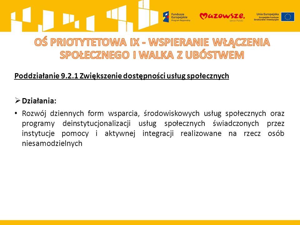 Poddziałanie 9.2.1 Zwiększenie dostępności usług społecznych  Działania: Rozwój dziennych form wsparcia, środowiskowych usług społecznych oraz progra