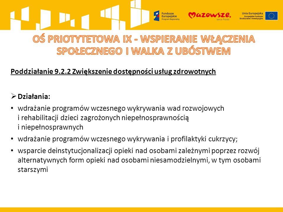 Poddziałanie 9.2.2 Zwiększenie dostępności usług zdrowotnych  Działania: wdrażanie programów wczesnego wykrywania wad rozwojowych i rehabilitacji dzi