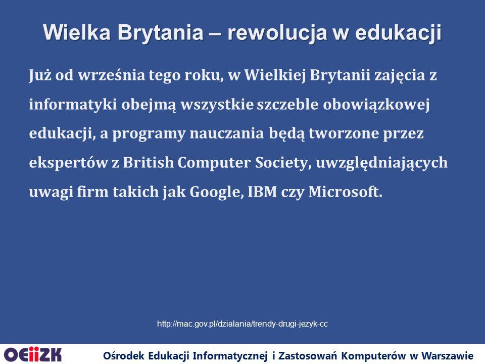 Ośrodek Edukacji Informatycznej i Zastosowań Komputerów w Warszawie Sukcesy polskich uczniów i studentów w olimpiadach informatycznych Programowanie w języku wyższego poziomu u młodzieży w wieku 16-24: –Polska 16%, –średnia w EU to 20%.