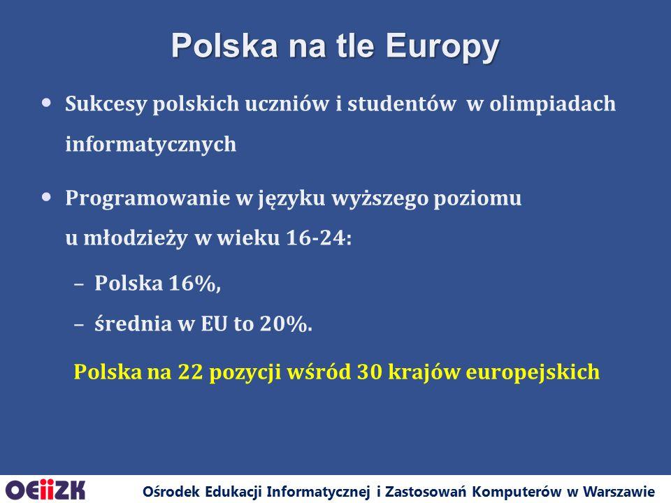 Ośrodek Edukacji Informatycznej i Zastosowań Komputerów w Warszawie Sukcesy polskich uczniów i studentów w olimpiadach informatycznych Programowanie w