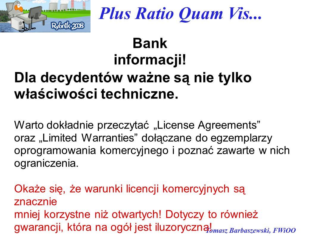Tomasz Barbaszewski, FWiOO Plus Ratio Quam Vis... Bank informacji.