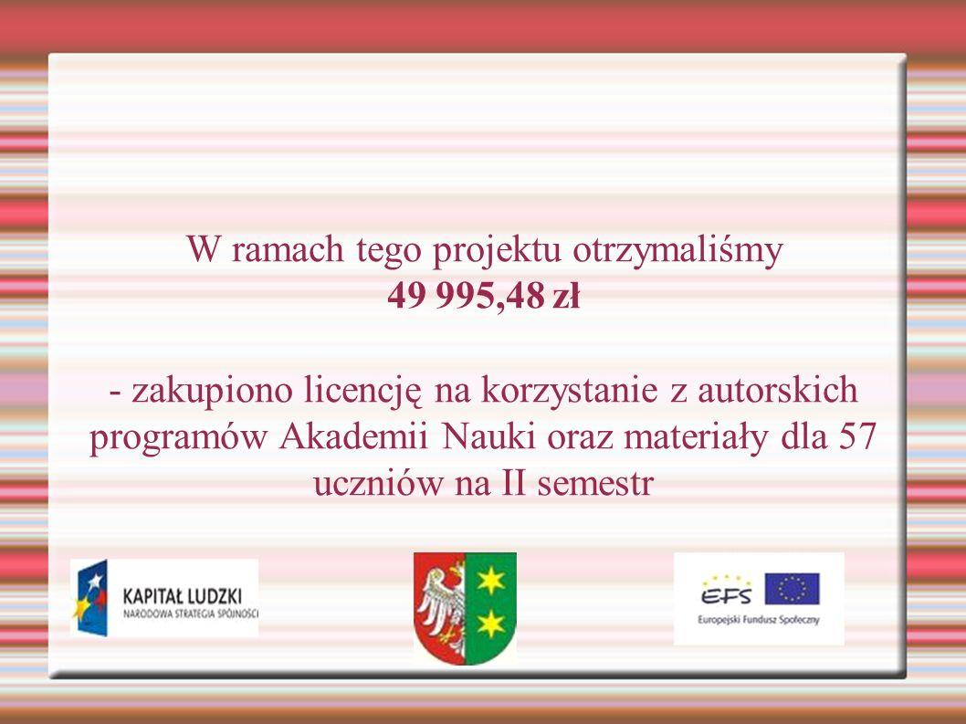 W ramach tego projektu otrzymaliśmy 49 995,48 zł - zakupiono licencję na korzystanie z autorskich programów Akademii Nauki oraz materiały dla 57 uczniów na II semestr