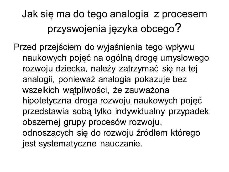 Jak się ma do tego analogia z procesem przyswojenia języka obcego .