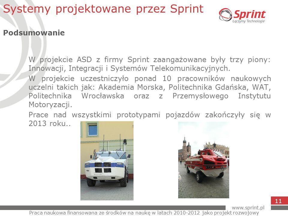 www.sprint.pl 11 W projekcie ASD z firmy Sprint zaangażowane były trzy piony: Innowacji, Integracji i Systemów Telekomunikacyjnych.