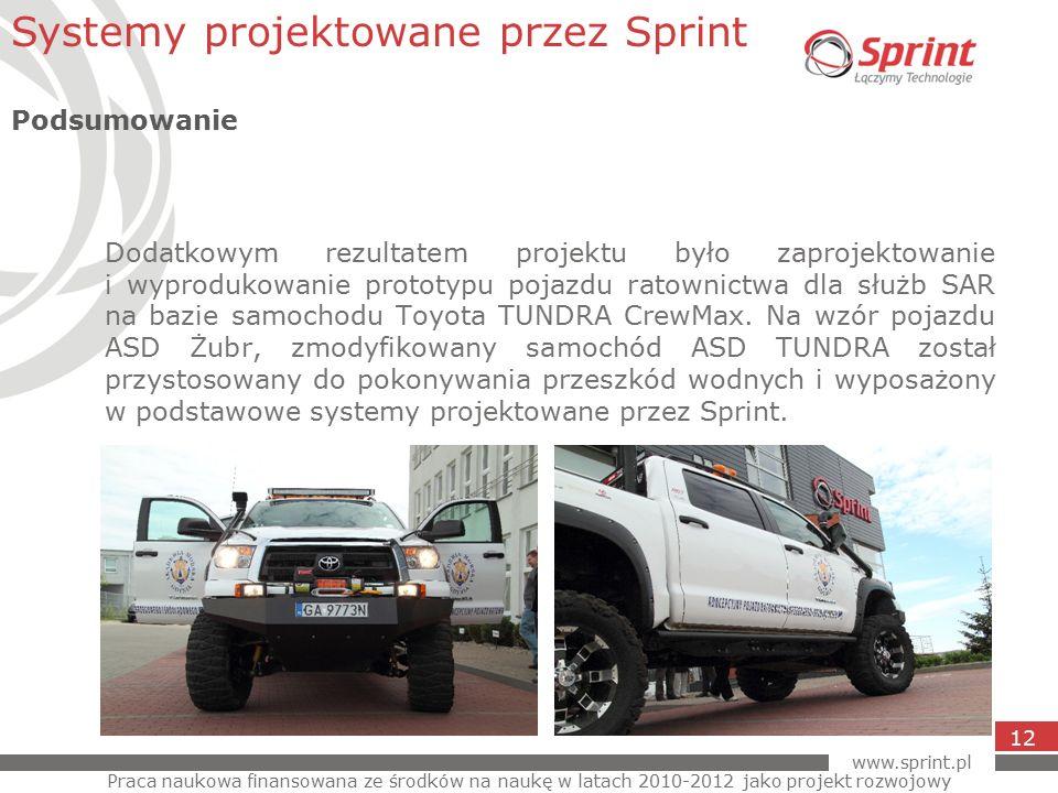www.sprint.pl 12 Dodatkowym rezultatem projektu było zaprojektowanie i wyprodukowanie prototypu pojazdu ratownictwa dla służb SAR na bazie samochodu Toyota TUNDRA CrewMax.