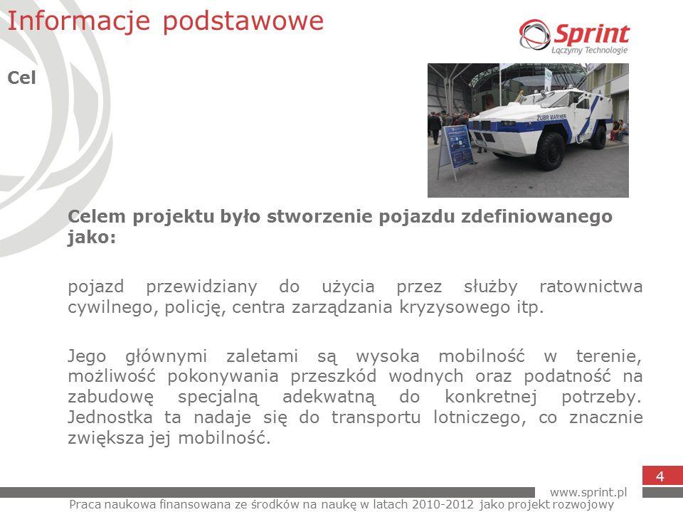 www.sprint.pl 4 Celem projektu było stworzenie pojazdu zdefiniowanego jako: pojazd przewidziany do użycia przez służby ratownictwa cywilnego, policję, centra zarządzania kryzysowego itp.