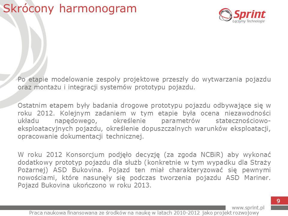 www.sprint.pl 9 Po etapie modelowanie zespoły projektowe przeszły do wytwarzania pojazdu oraz montażu i integracji systemów prototypu pojazdu.