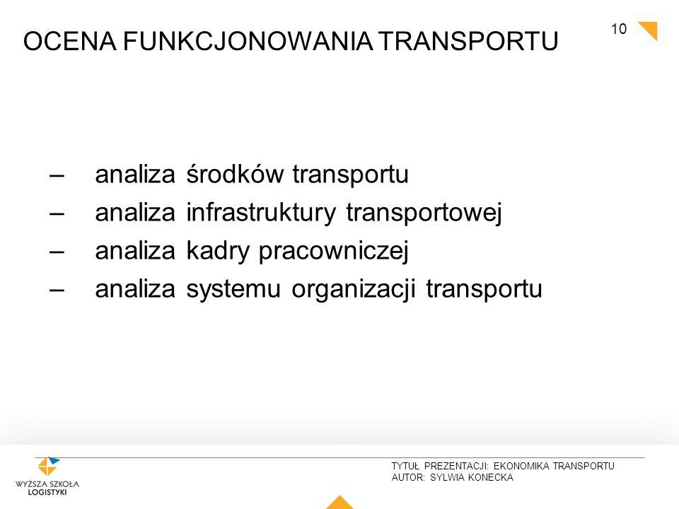TYTUŁ PREZENTACJI: EKONOMIKA TRANSPORTU AUTOR: SYLWIA KONECKA 10 TRANSPORT OCENA FUNKCJONOWANIA TRANSPORTU –analiza środków transportu –analiza infras