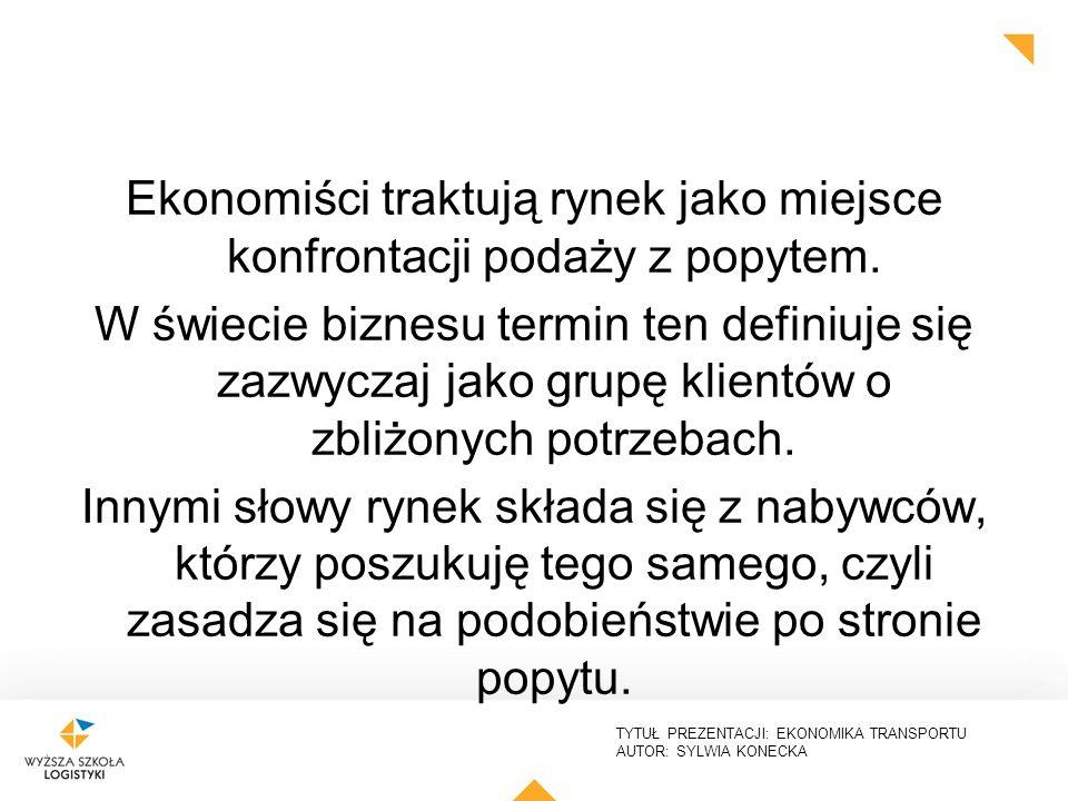 TYTUŁ PREZENTACJI: EKONOMIKA TRANSPORTU AUTOR: SYLWIA KONECKA Ekonomiści traktują rynek jako miejsce konfrontacji podaży z popytem. W świecie biznesu