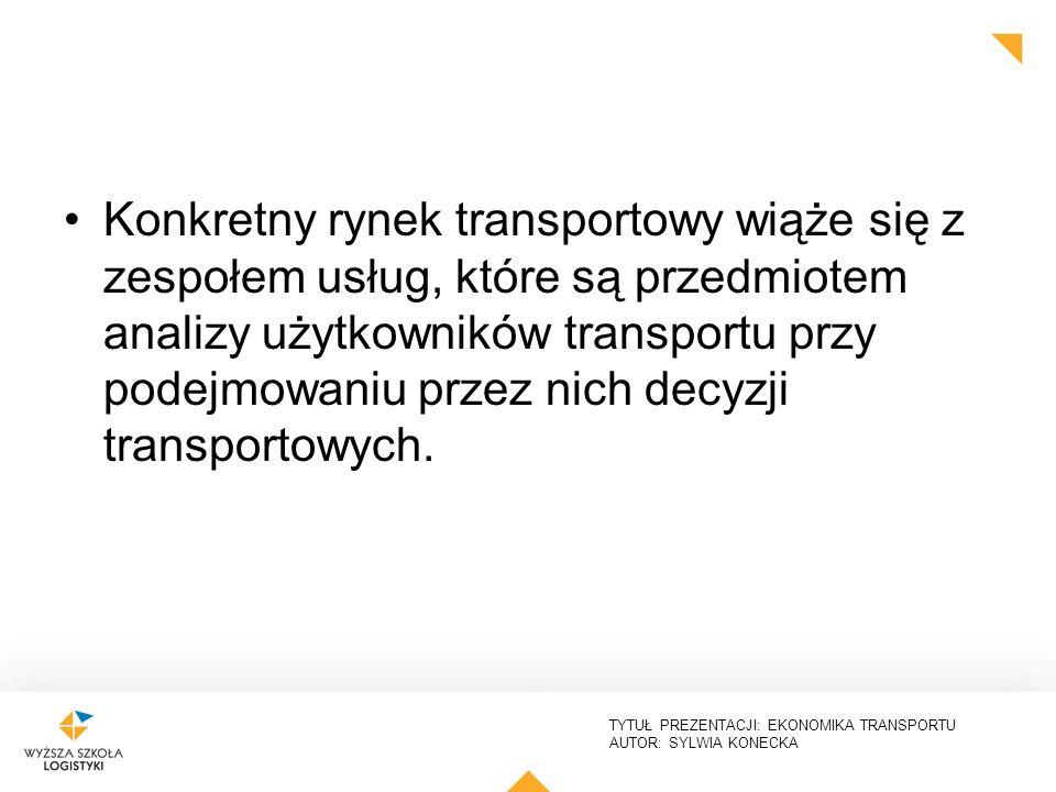 TYTUŁ PREZENTACJI: EKONOMIKA TRANSPORTU AUTOR: SYLWIA KONECKA Konkretny rynek transportowy wiąże się z zespołem usług, które są przedmiotem analizy uż
