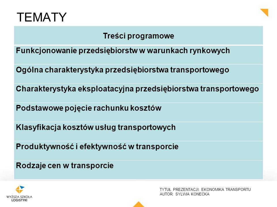TYTUŁ PREZENTACJI: EKONOMIKA TRANSPORTU AUTOR: SYLWIA KONECKA rynki transportowe według gałęzi transportu: rynek transportu samochodowego, rynek kolejowy, rynek lotniczy, rynek żeglugi śródlądowej, rynek transportu morskiego, rynek transportu przesyłowego Kryterium przedmiotu przewozu: rynek przewozów pasażerskich, rynek przewozu ładunków kryterium zasięgu przestrzennego: rynki lokalne, rynki krajowe, rynki międzynarodowe kryterium zasad funkcjonowania: rynek konkurencyjny, rynek zmonopolizowany, rynek centralnie regulowany kryterium siły oddziaływania: rynek przewoźnika, rynek użytkownika KRYTERIA PODZIAŁU RYNKU TRANSPORTOWEGO