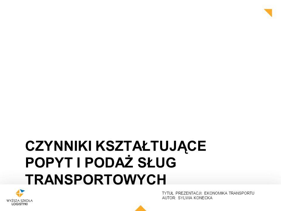 TYTUŁ PREZENTACJI: EKONOMIKA TRANSPORTU AUTOR: SYLWIA KONECKA CZYNNIKI KSZTAŁTUJĄCE POPYT I PODAŻ SŁUG TRANSPORTOWYCH