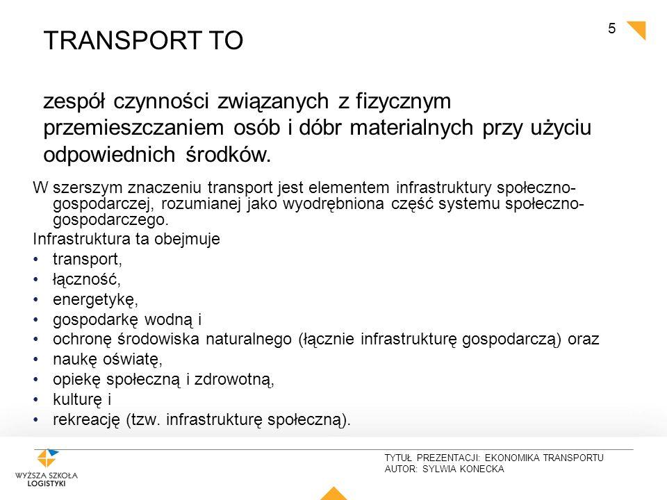 TYTUŁ PREZENTACJI: EKONOMIKA TRANSPORTU AUTOR: SYLWIA KONECKA 5 W szerszym znaczeniu transport jest elementem infrastruktury społeczno- gospodarczej,