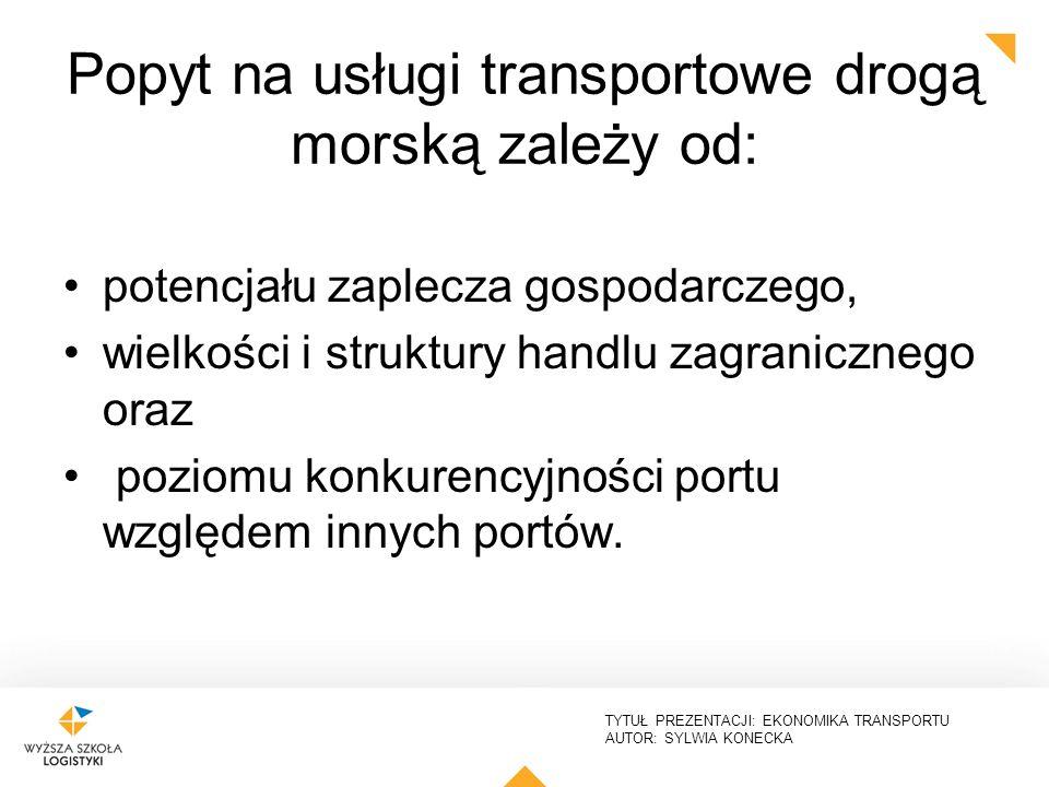TYTUŁ PREZENTACJI: EKONOMIKA TRANSPORTU AUTOR: SYLWIA KONECKA Popyt na usługi transportowe drogą morską zależy od: potencjału zaplecza gospodarczego,
