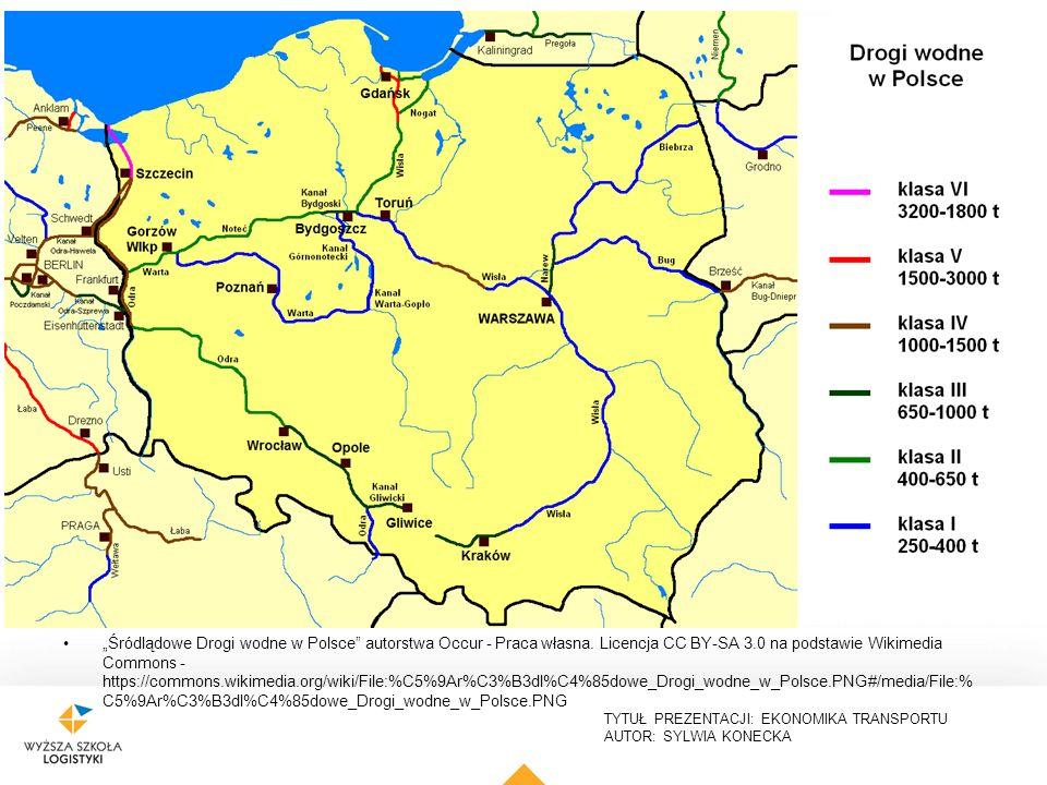 """TYTUŁ PREZENTACJI: EKONOMIKA TRANSPORTU AUTOR: SYLWIA KONECKA """"Śródlądowe Drogi wodne w Polsce"""" autorstwa Occur - Praca własna. Licencja CC BY-SA 3.0"""