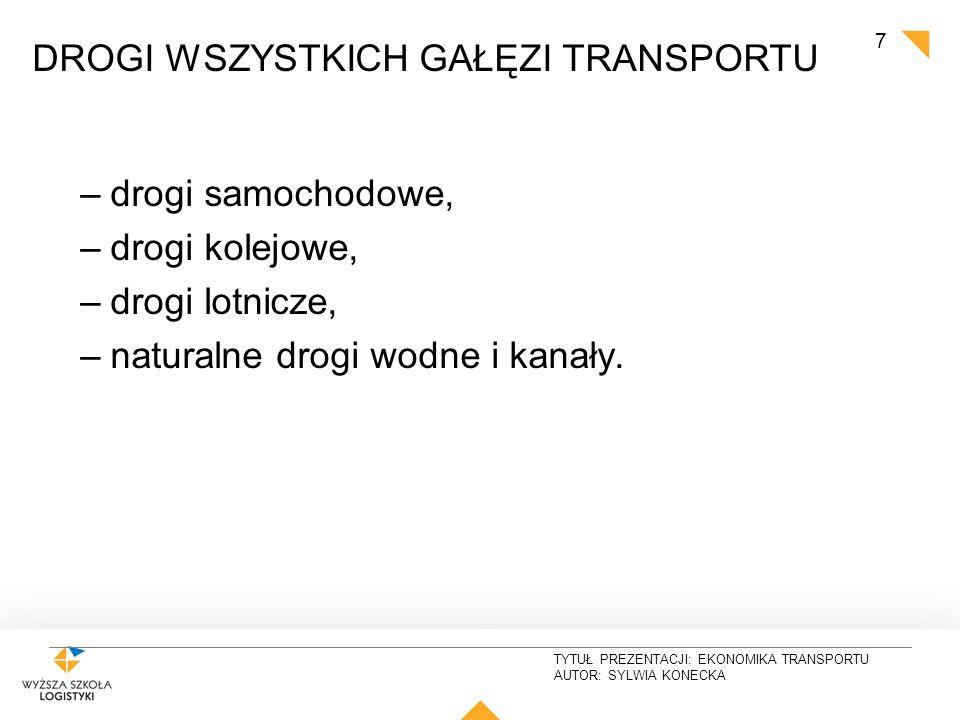 """TYTUŁ PREZENTACJI: EKONOMIKA TRANSPORTU AUTOR: SYLWIA KONECKA """"Śródlądowe Drogi wodne w Polsce autorstwa Occur - Praca własna."""