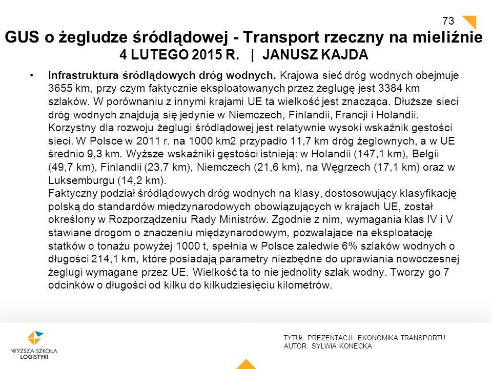 TYTUŁ PREZENTACJI: EKONOMIKA TRANSPORTU AUTOR: SYLWIA KONECKA GUS o żegludze śródlądowej - Transport rzeczny na mieliźnie 4 LUTEGO 2015 R. | JANUSZ KA
