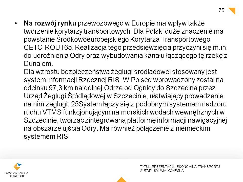 TYTUŁ PREZENTACJI: EKONOMIKA TRANSPORTU AUTOR: SYLWIA KONECKA Na rozwój rynku przewozowego w Europie ma wpływ także tworzenie korytarzy transportowych