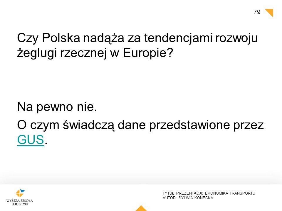 TYTUŁ PREZENTACJI: EKONOMIKA TRANSPORTU AUTOR: SYLWIA KONECKA Czy Polska nadąża za tendencjami rozwoju żeglugi rzecznej w Europie? Na pewno nie. O czy