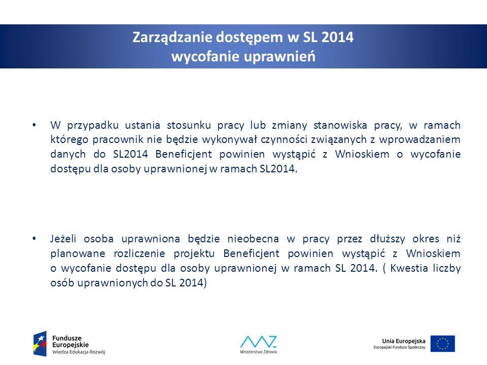 10 Zarządzanie dostępem w SL 2014 wycofanie uprawnień W przypadku ustania stosunku pracy lub zmiany stanowiska pracy, w ramach którego pracownik nie b