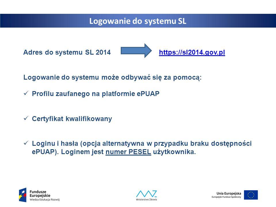 13 Logowanie do systemu SL Adres do systemu SL 2014 https://sl2014.gov.plhttps://sl2014.gov.pl Logowanie do systemu może odbywać się za pomocą: Profil