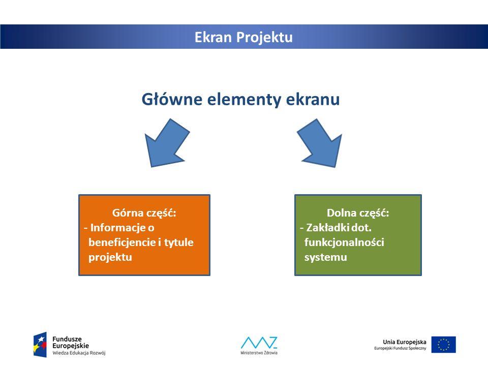 18 Ekran Projektu Główne elementy ekranu Górna część: - Informacje o beneficjencie i tytule projektu Dolna część: - Zakładki dot. funkcjonalności syst