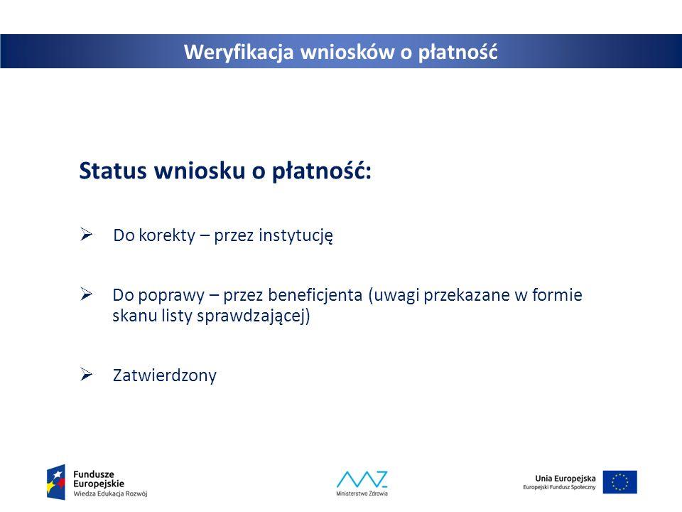 21 Weryfikacja wniosków o płatność Status wniosku o płatność:  Do korekty – przez instytucję  Do poprawy – przez beneficjenta (uwagi przekazane w fo