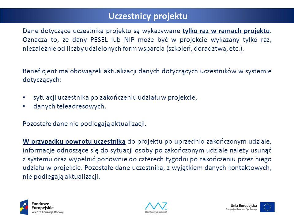 33 Dane dotyczące uczestnika projektu są wykazywane tylko raz w ramach projektu. Oznacza to, że dany PESEL lub NIP może być w projekcie wykazany tylko