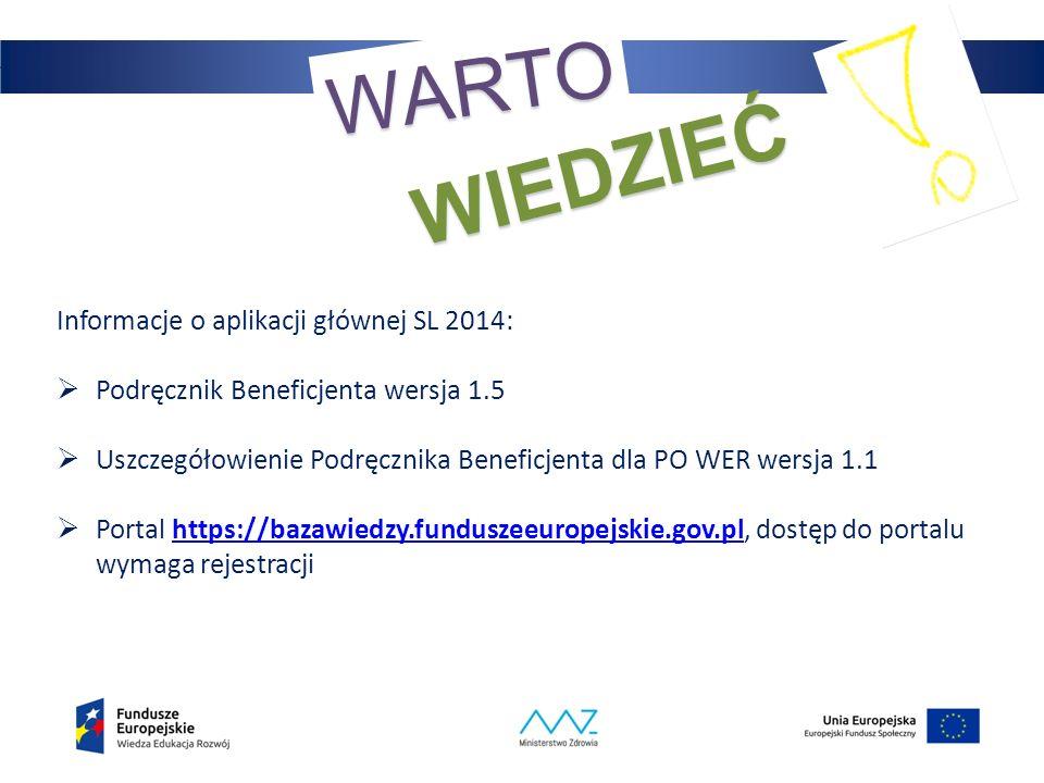 35 WARTO WIEDZIEĆ Informacje o aplikacji głównej SL 2014:  Podręcznik Beneficjenta wersja 1.5  Uszczegółowienie Podręcznika Beneficjenta dla PO WER