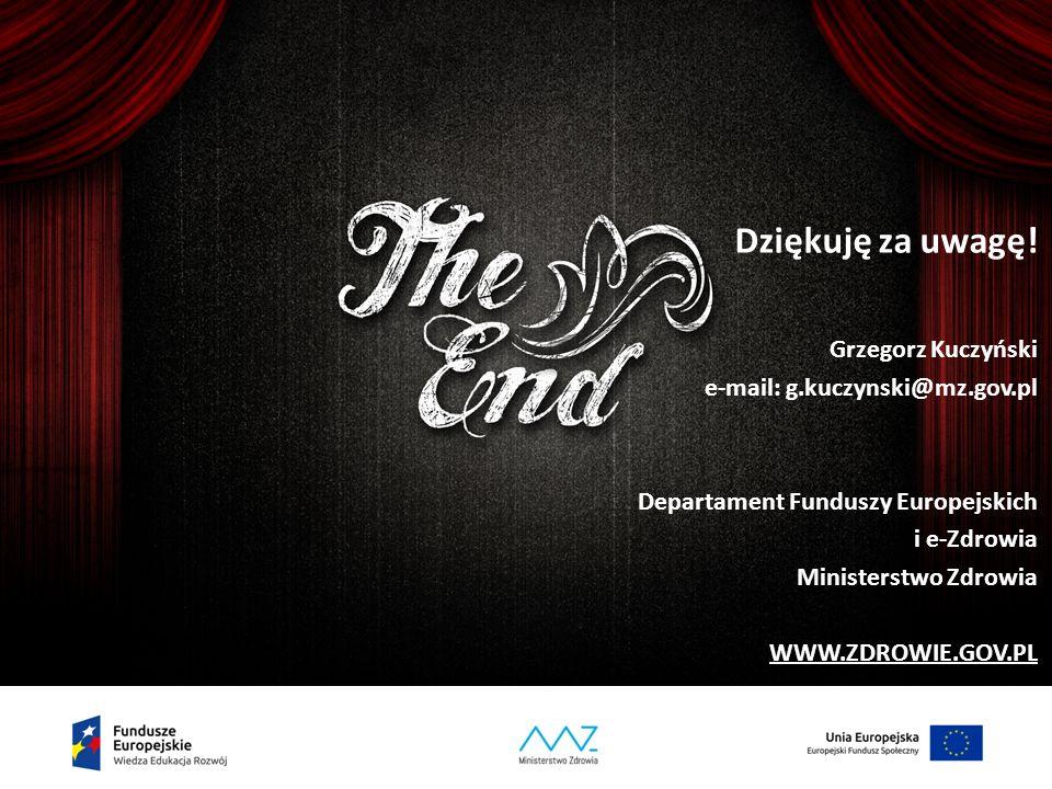37 Dziękuję za uwagę! Grzegorz Kuczyński e-mail: g.kuczynski@mz.gov.pl Departament Funduszy Europejskich i e-Zdrowia Ministerstwo Zdrowia WWW.ZDROWIE.