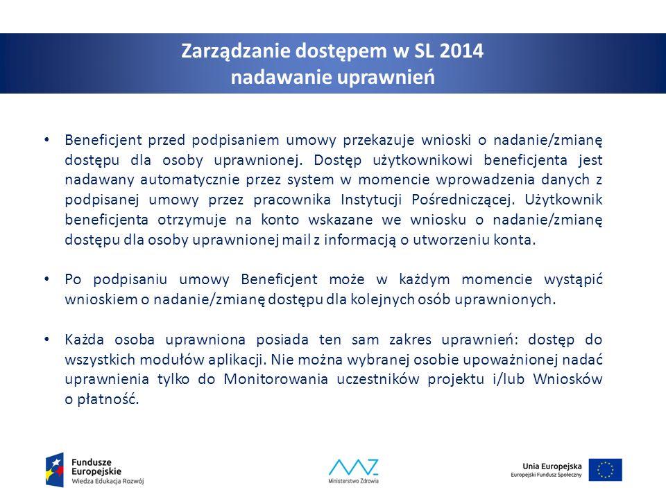 9 Zarządzanie dostępem w SL 2014 nadawanie uprawnień Beneficjent przed podpisaniem umowy przekazuje wnioski o nadanie/zmianę dostępu dla osoby uprawnionej.